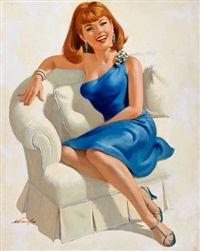 seated red-headed beauty by arthur saron sarnoff