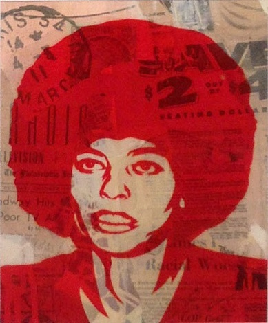 angela '98 (mixed media collage) by shepard fairey