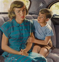 consoling his mother, redbook magazine story illustration by arthur saron sarnoff