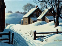winter landscape with house by arthur saron sarnoff
