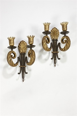 pair of sconces acanthus leaf-shaped by gilbert poillerat