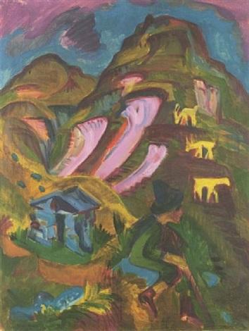 berghirte im herbst (berghirte mit ziegen) by ernst ludwig kirchner