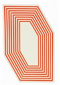 untitled (hexagon fluorescent orange stripes) by barry mcghee