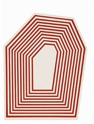 untitled (hexagon maroon stripes) by barry mcgee
