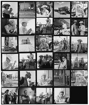 "james dean contact sheet from ""giant"" by sid avery"