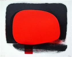 rotes rund im schwarz/ rot-schwarz by rupprecht geiger