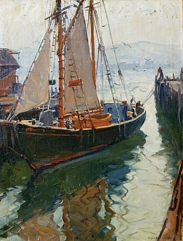 gloucester harbor scene by emile albert gruppe