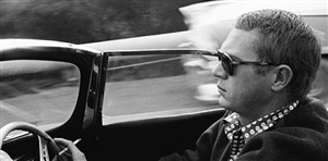 steve mcqueen in his 1957 jaguar xkss by sid avery