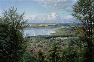 view over juul lake by peder mork monsted