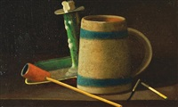 gentleman's mug and pipe by candlelight by john frederick peto