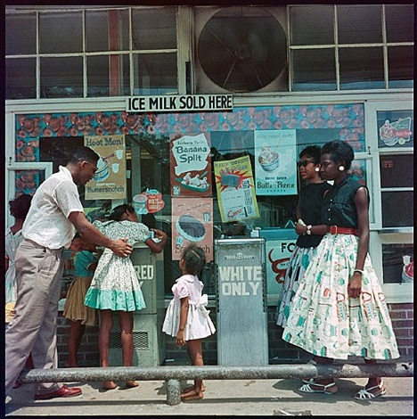 at segregated drinking fountain, mobile, alabama, 1956 by gordon parks