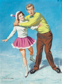 ice skating fun, american weekly cover by arthur saron sarnoff