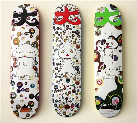 bunbu kun set of 3 skateboards decks by takashi murakami