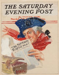 george washington the saturday evening post preliminary cover by william f. soare