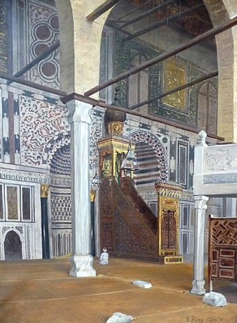 view of the el mnayyad mosque, cairo by otto pilny