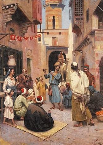 street entertainment, cairo by rudolf weisse