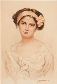 portrait of a young woman by frederick sands brunner