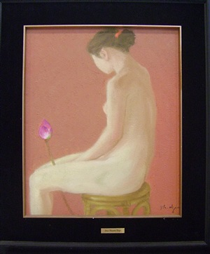girl with lotus flower by dao thanh dzuy