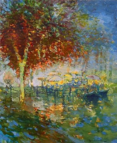 automne pres de la riviere by gérard valtier