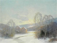 snow scene by ernest albert