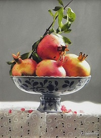 pomegranates in chinese plate by liu yingzhao