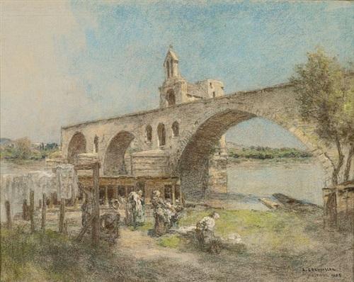 lavandières au pont d'avignon by léon augustin l'hermitte