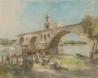 lavandières au pont d'avignon by léon augustin lhermitte