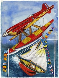 pamela with red sea plane and flags by malcolm morley