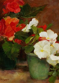 red begonias and white pansies by kathy anderson