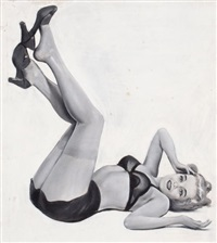 pin-up in black lingerie by j. george janet