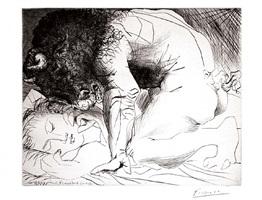 minotaure caressant du mufle la main d'une dormeuse (bloch 201) by pablo picasso