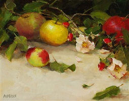 apples & wild roses (sold) by kathy anderson
