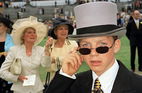ascot (sunglasses and top hat) gb. england. think of england by martin parr