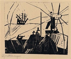 on the quay by lyonel feininger