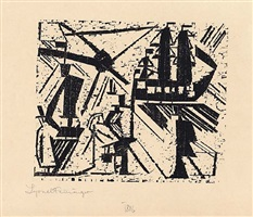 marine (with sun) by lyonel feininger