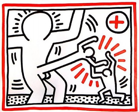 cockfight by keith haring