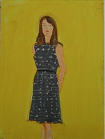 woman with green dress: sharon by alex katz