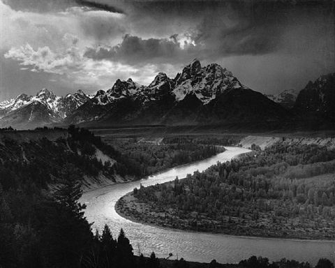 the tetons and the snake river, grand teton national park, wyoming by ansel adams