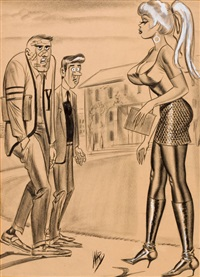 it wasn't saturday's game that did it to me- it was meeting up with the opposition after the game!, humorama cartoon illustration by bill ward