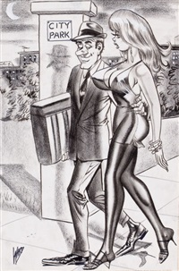 why on earth did you steal only the seat...why not the whole car?, humorama cartoon illustration by bill ward