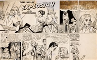 there was an explosion in the powder room, hinds renovator cream cartoon advertisement by bill ward