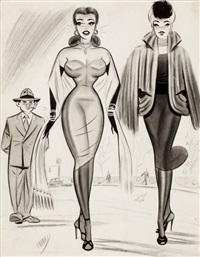 two women with an admirer, cartoon illustration by bill ward