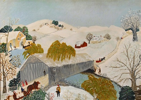 the old bridge in the valley by grandma moses