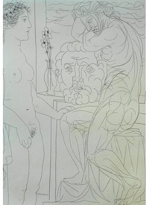 nude model with sculptures from the vollard suite by pablo picasso
