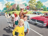 assisting the children in the crosswalk by arthur saron sarnoff