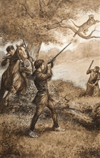 men shooting a cougar by william allen rogers