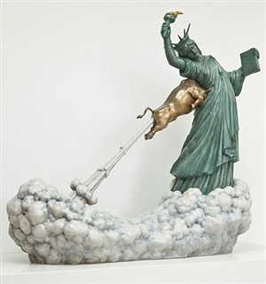 statue of liberty and the golden bull by chen wenling