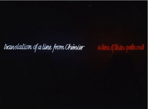 translation of a line from chénier a line of thin pale red by ian hamilton finlay