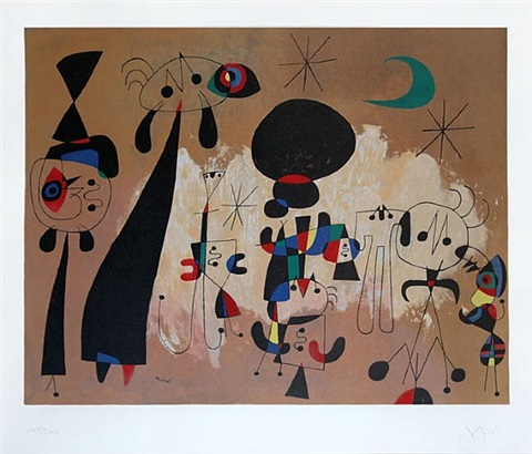 woman, moon, stars by joan miró
