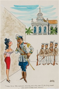 i know it's a little unusual, senorita, but in this case it's the firing squad who want to make a last request., playboy cartoon illustration by francis wilford smith